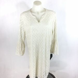 Style & Co Top Tunic Dress Vintage Cream Lace Macy
